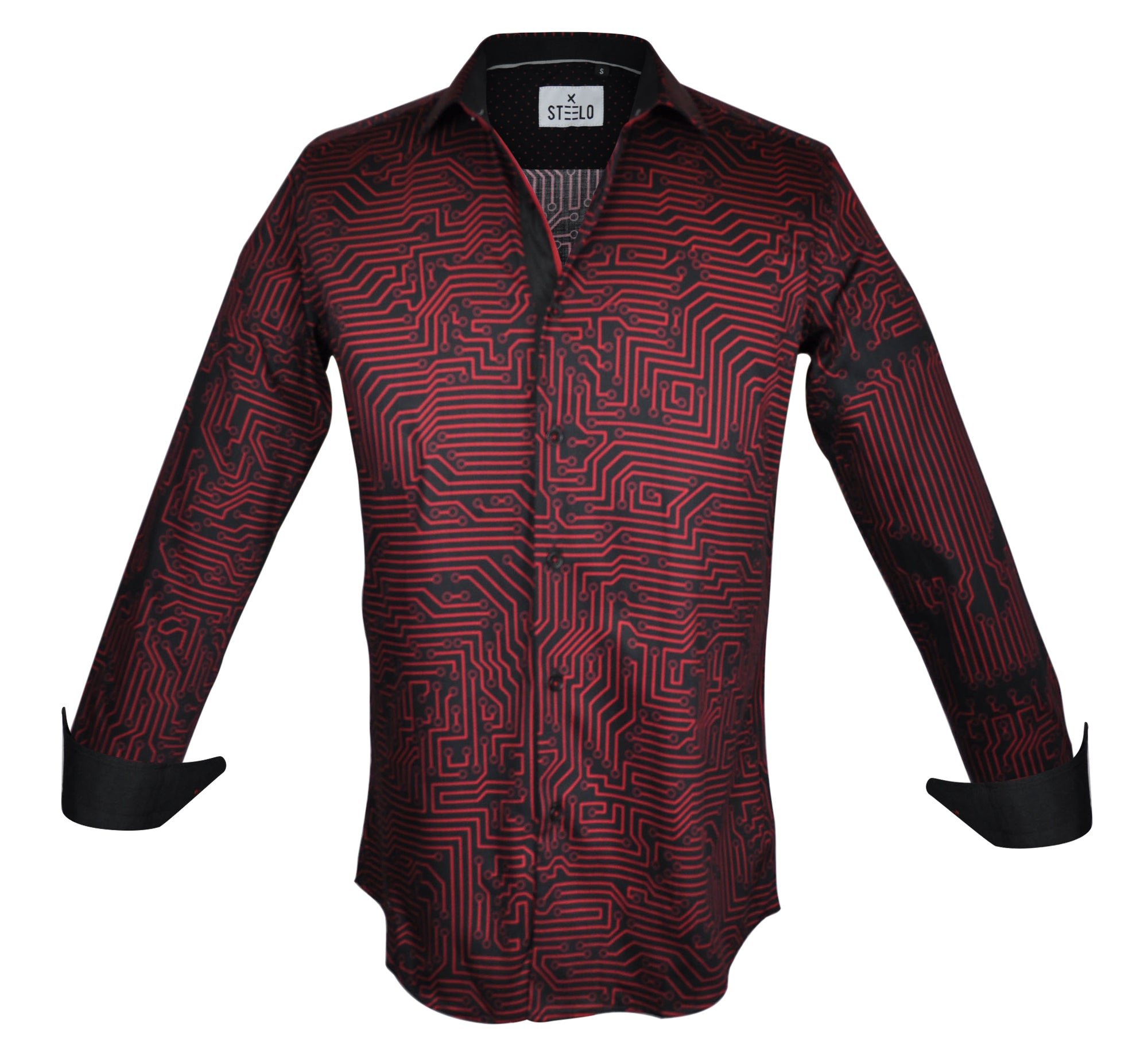 Steelo Skull Vibe Red Fashion Dress Shirt