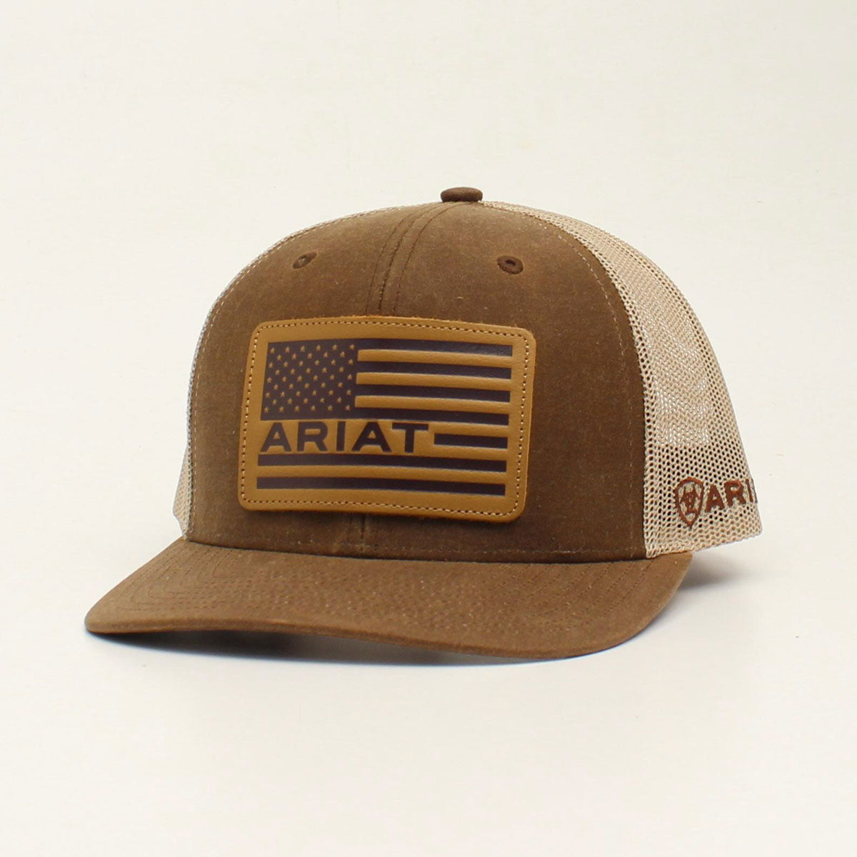 Ariat Leather USA Flag Patch Brown Cap