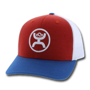 HOOEY O Classic Red, Blue and White Mesh Logo Cap