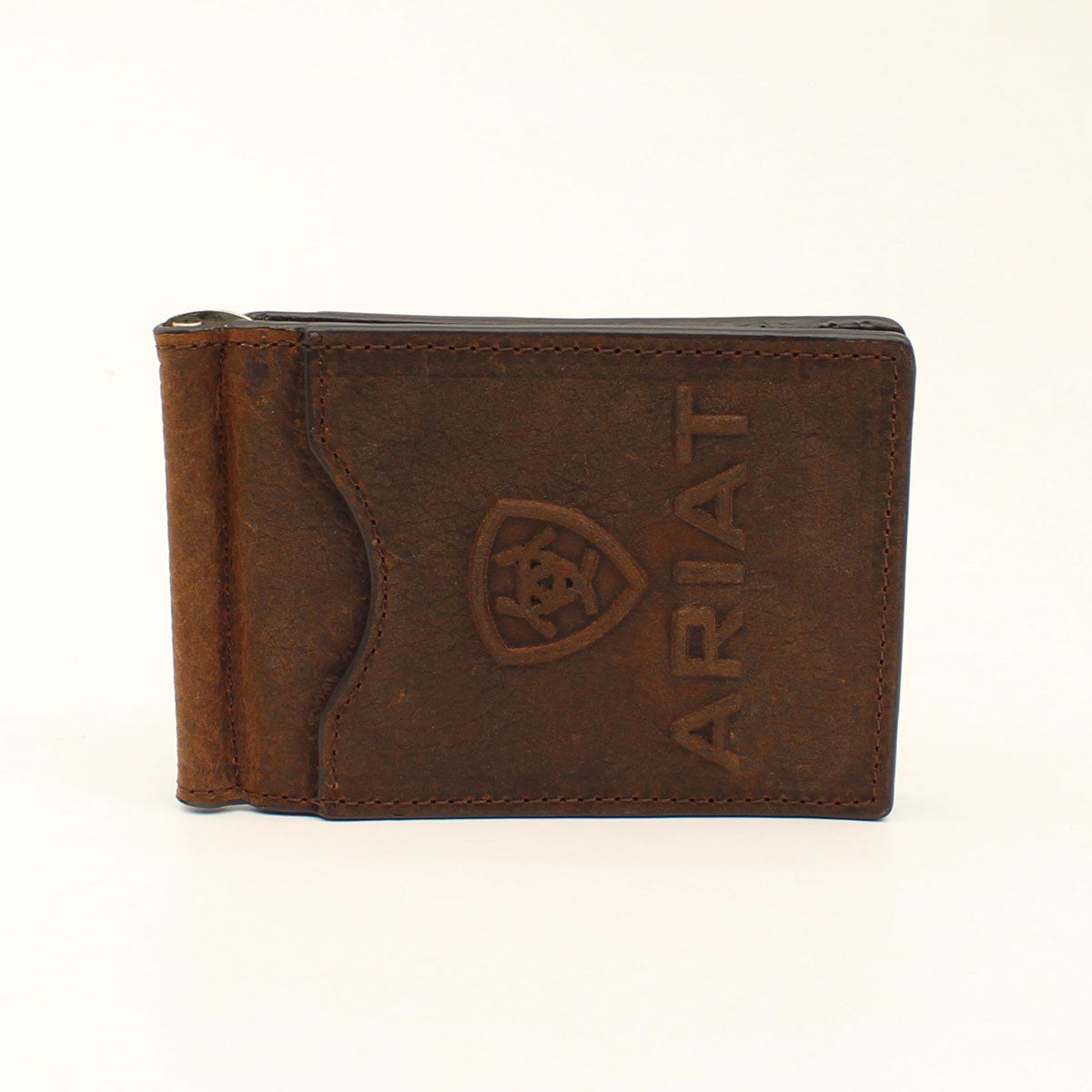 Ariat Western Mens Money Clip Card Case Leather Calf Hair Inlay Brown A3543944