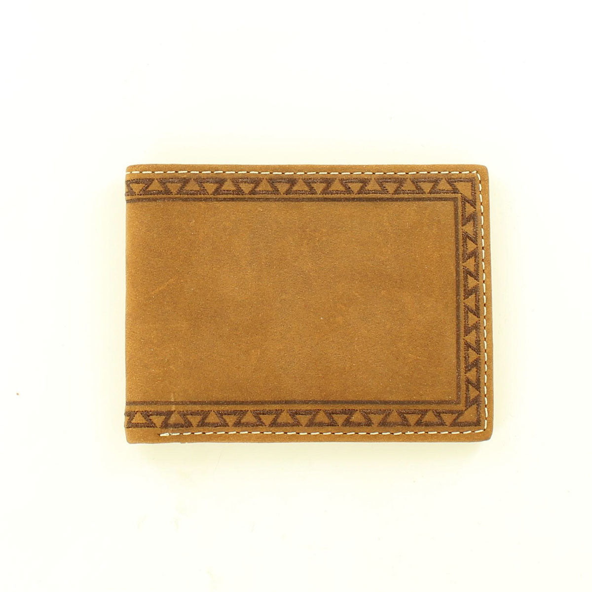 Ariat Bifold Aztec Embroidered Edge Medium Brown Leather Wallet