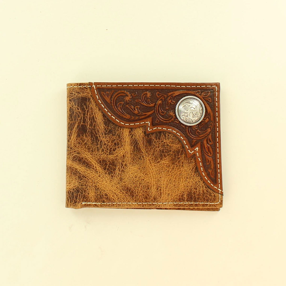 Ariat Bi-Fold Silver Concho Embossed Corner Tan Leather Wallet