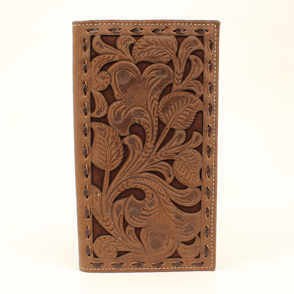 Nocona Floral Tooled Leather Overlay Rodeo Wallet