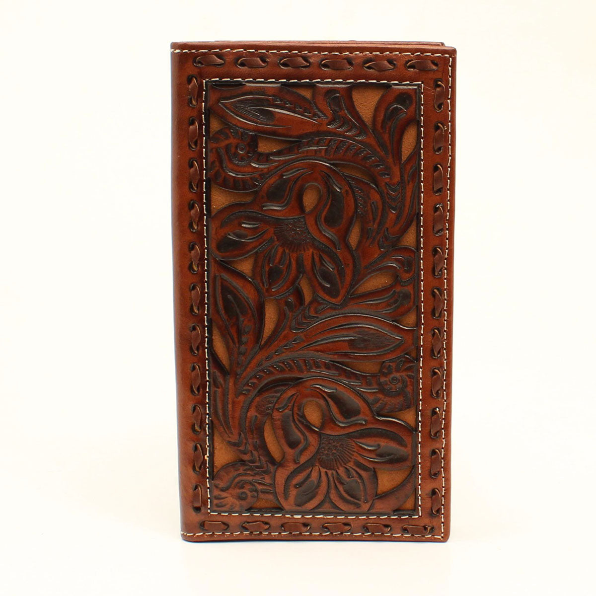 Nocona Embossed Floral Pierced Tan Leather Rodeo Wallet