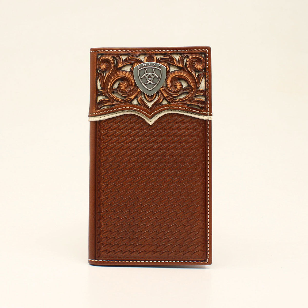 Ariat Embossed Basketweave Logo Concho Tan Rodeo Wallet