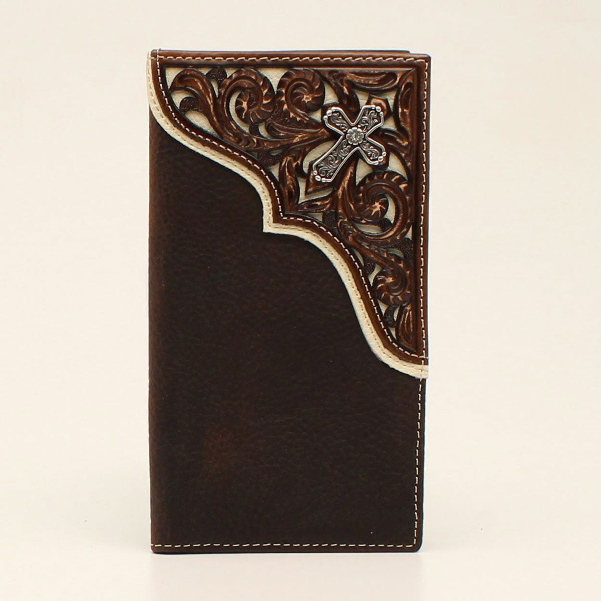Nocona Cross Concho Pierced Leather Overlay Brown Rodeo Wallet