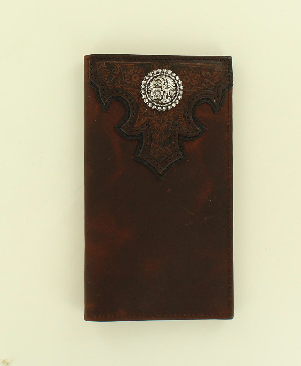 Ariat Scroll Concho Embossed Floral Overlay Brown Rodeo Wallet
