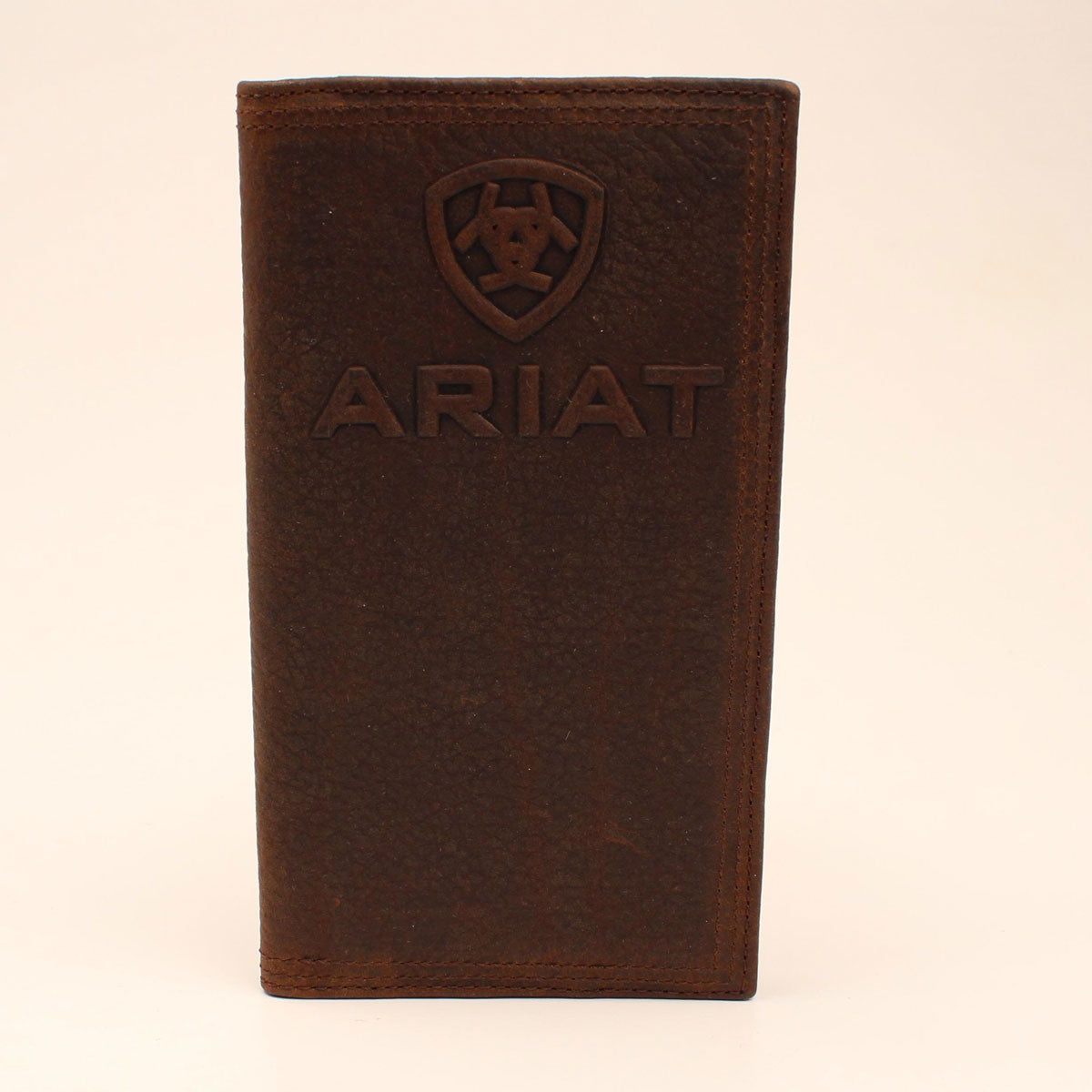 Ariat Shield Logo Medium Brown Rodeo Leather Wallet