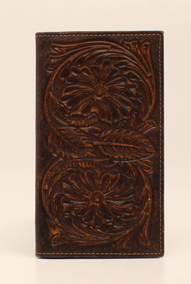Ariat Embossed Pattern Brown Leather Rodeo Wallet
