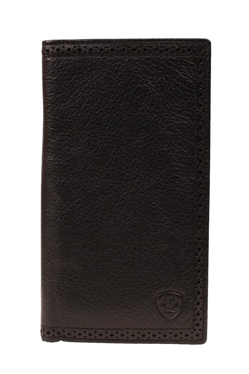Ariat Perforated Edge Black Leather Rodeo Wallet