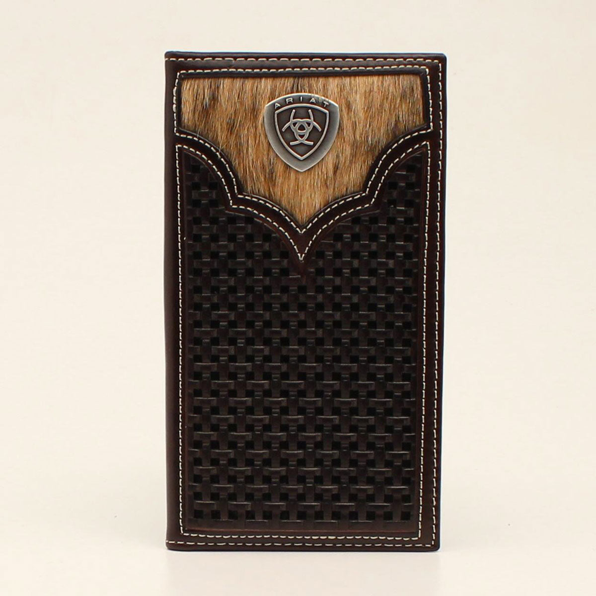Ariat Brown Basketweave Calf Hair Inlay Rodeo Leather Wallet