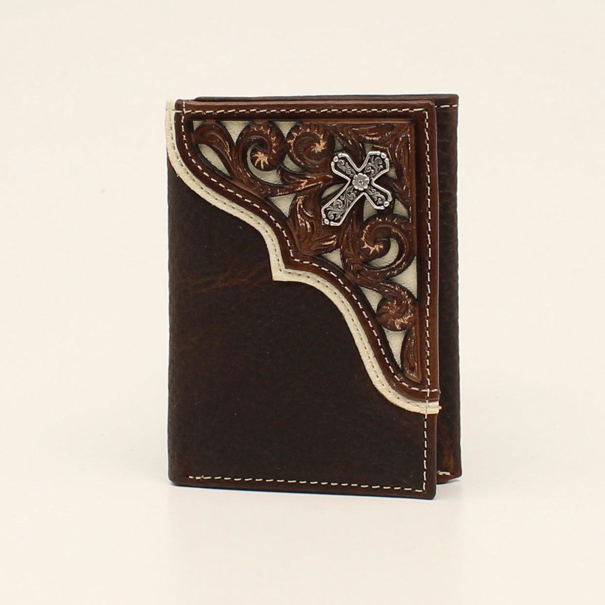 Nocona Trifold Cross Concho Pierced Corner Overlay Leather Wallet
