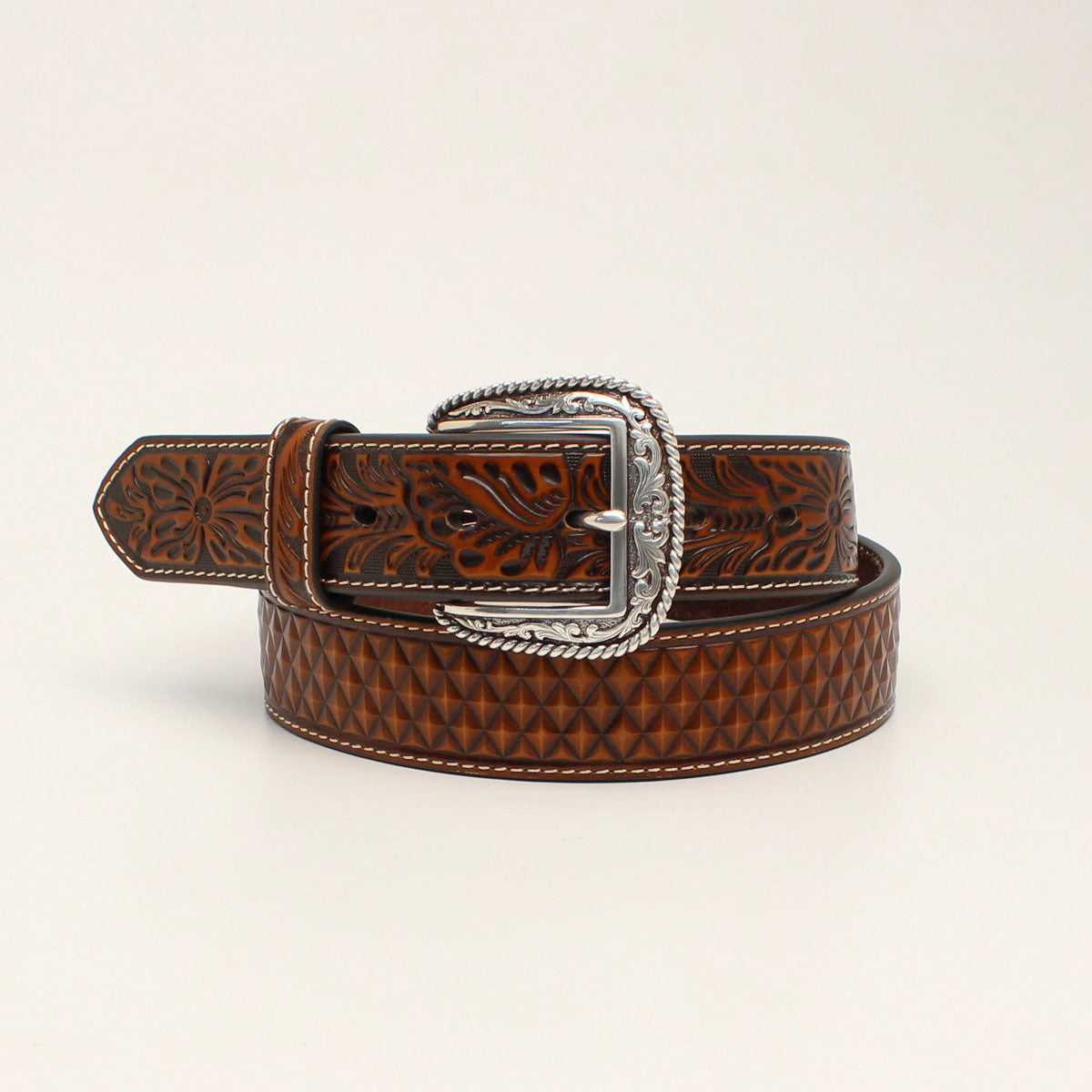 Ariat Men's Western Floral Embossed Tan Leather Belt