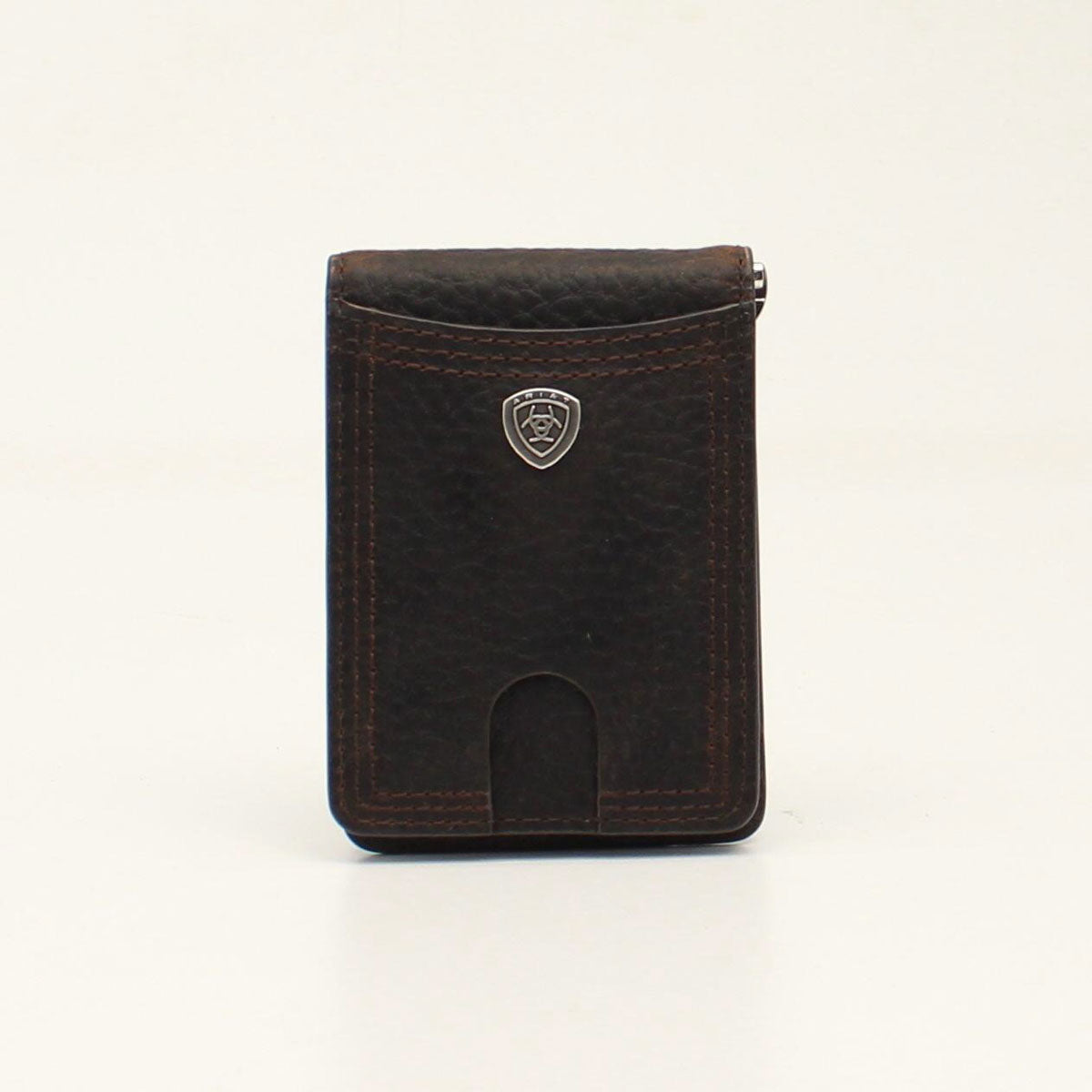 Ariat Shield Logo Bifold Money Clip Brown Wallet