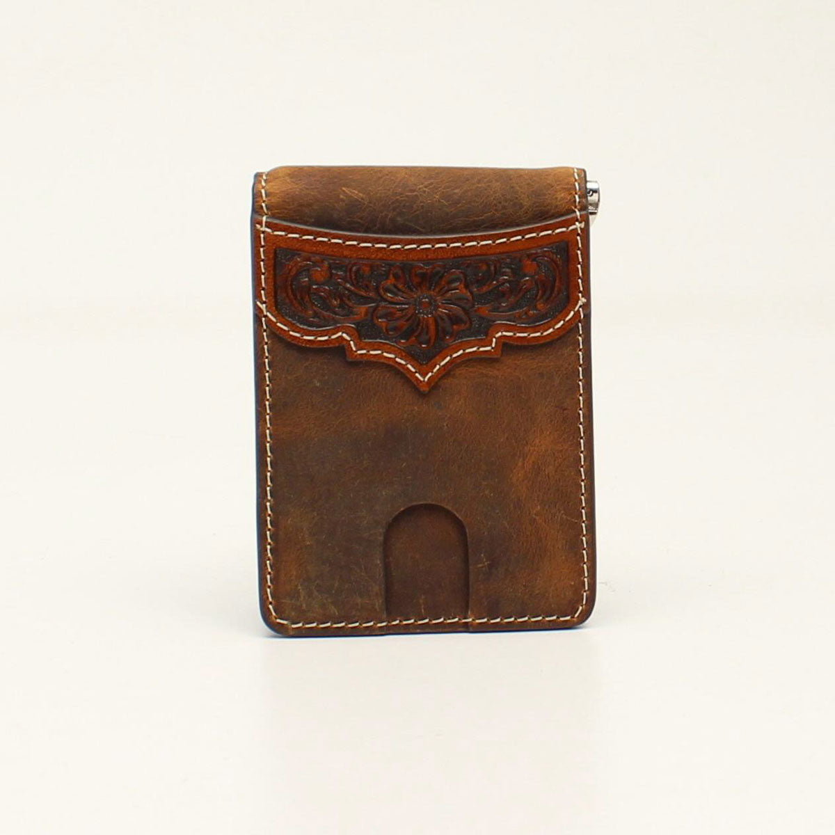 Ariat Bifold Money Clip Floral Embossed Overlay Tan Wallet