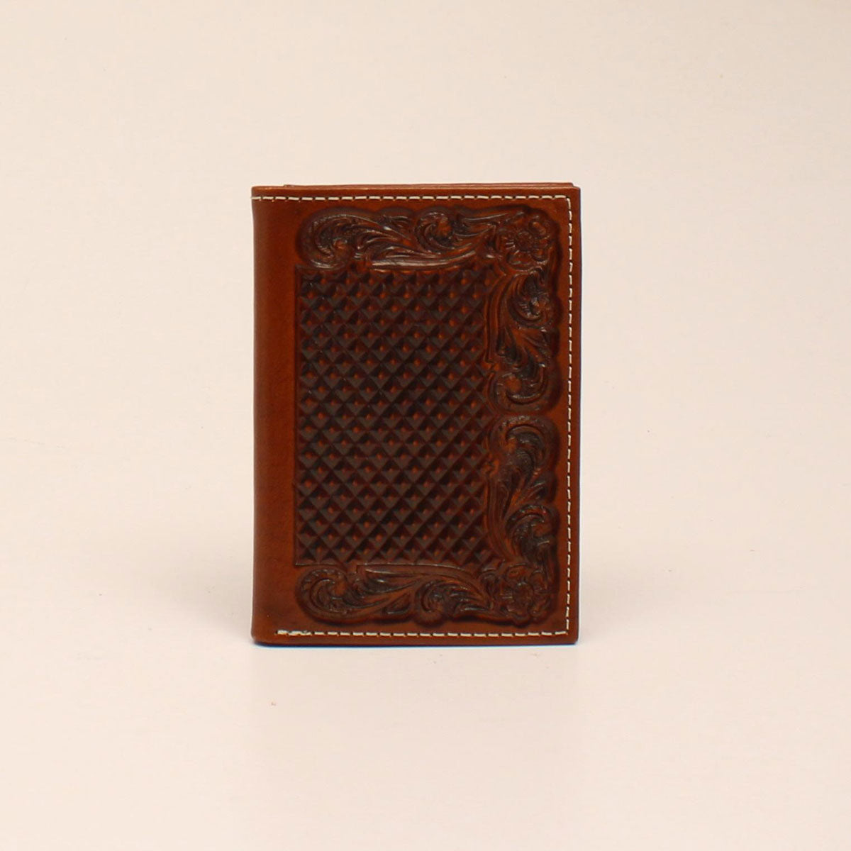 Ariat Tan Trifold Basketweave Embossed Wallet