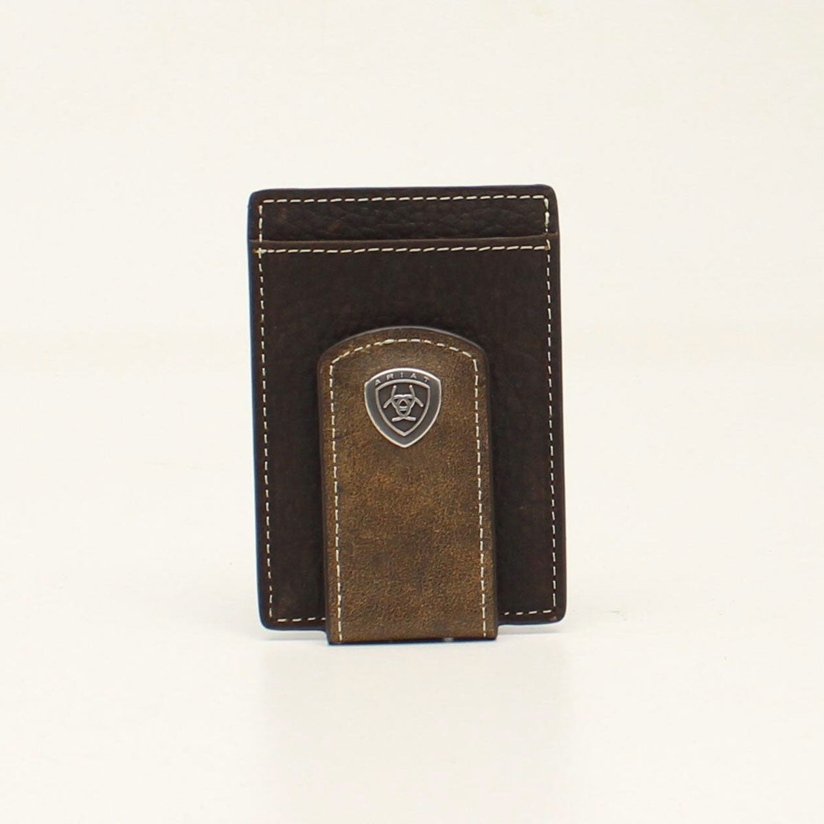 Ariat Concho Magentic Money Clip Brown Leather Wallet