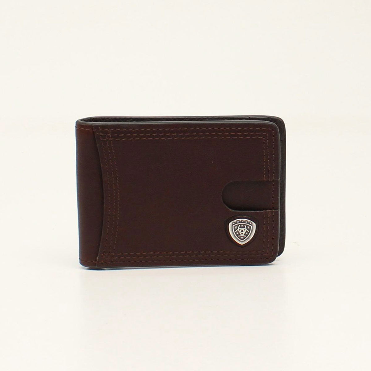 Ariat Shield Concho Brown Bifold Money Clip Wallet