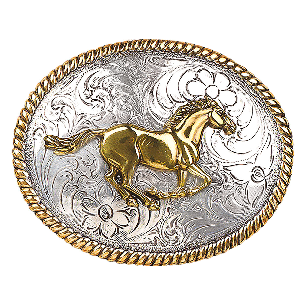 Ladies Gold Running Horse Oval Belt Buckle