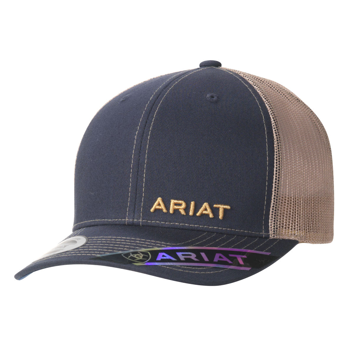 Ariat Offset Text Logo Navy and Tan Cap