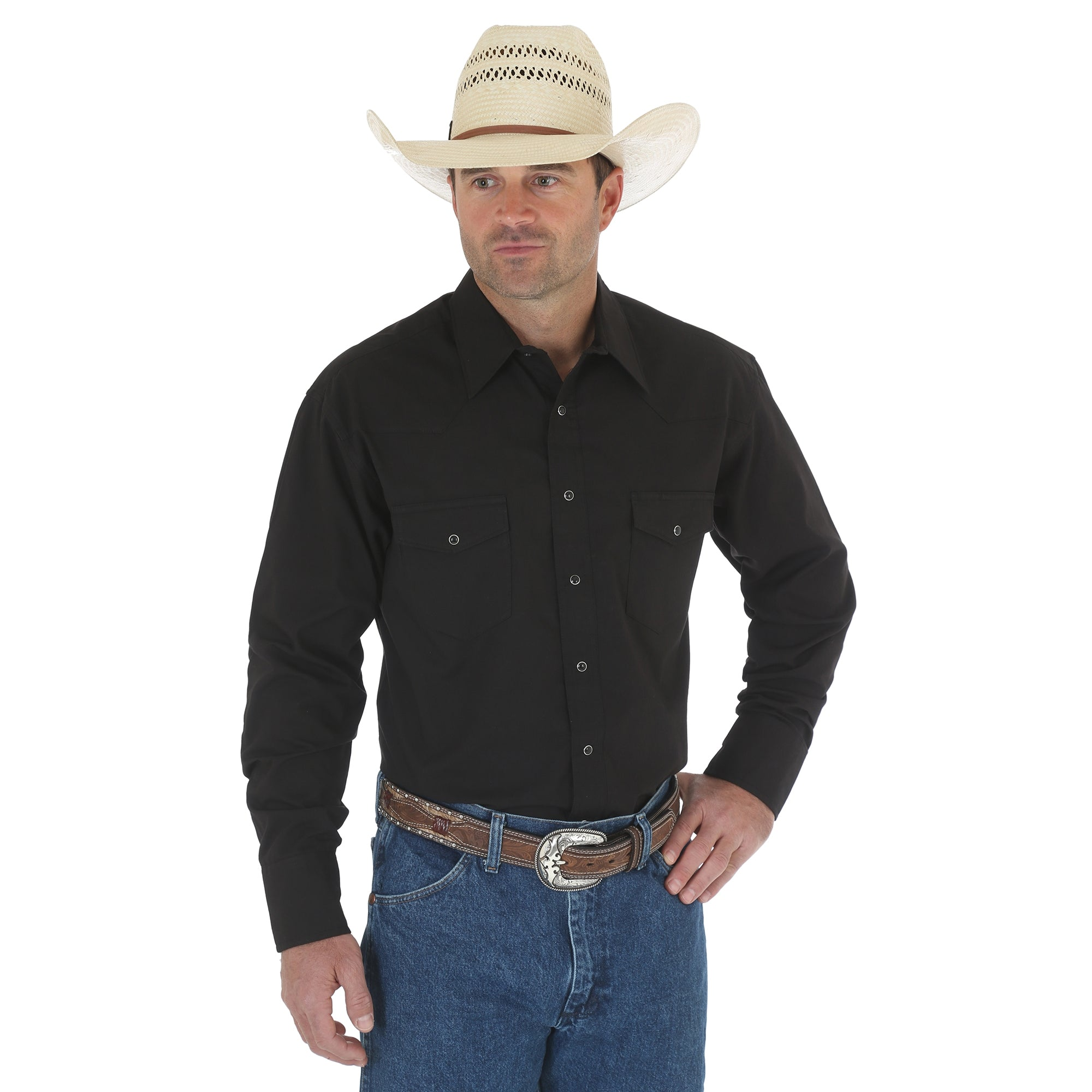 Wrangler Men's Western Long Sleeve Snap Shirt Black