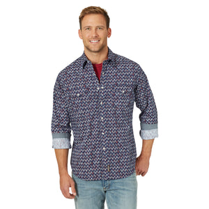 Wrangler Men's Retro Long Sleeve Navy/White/Red Snap Shirt