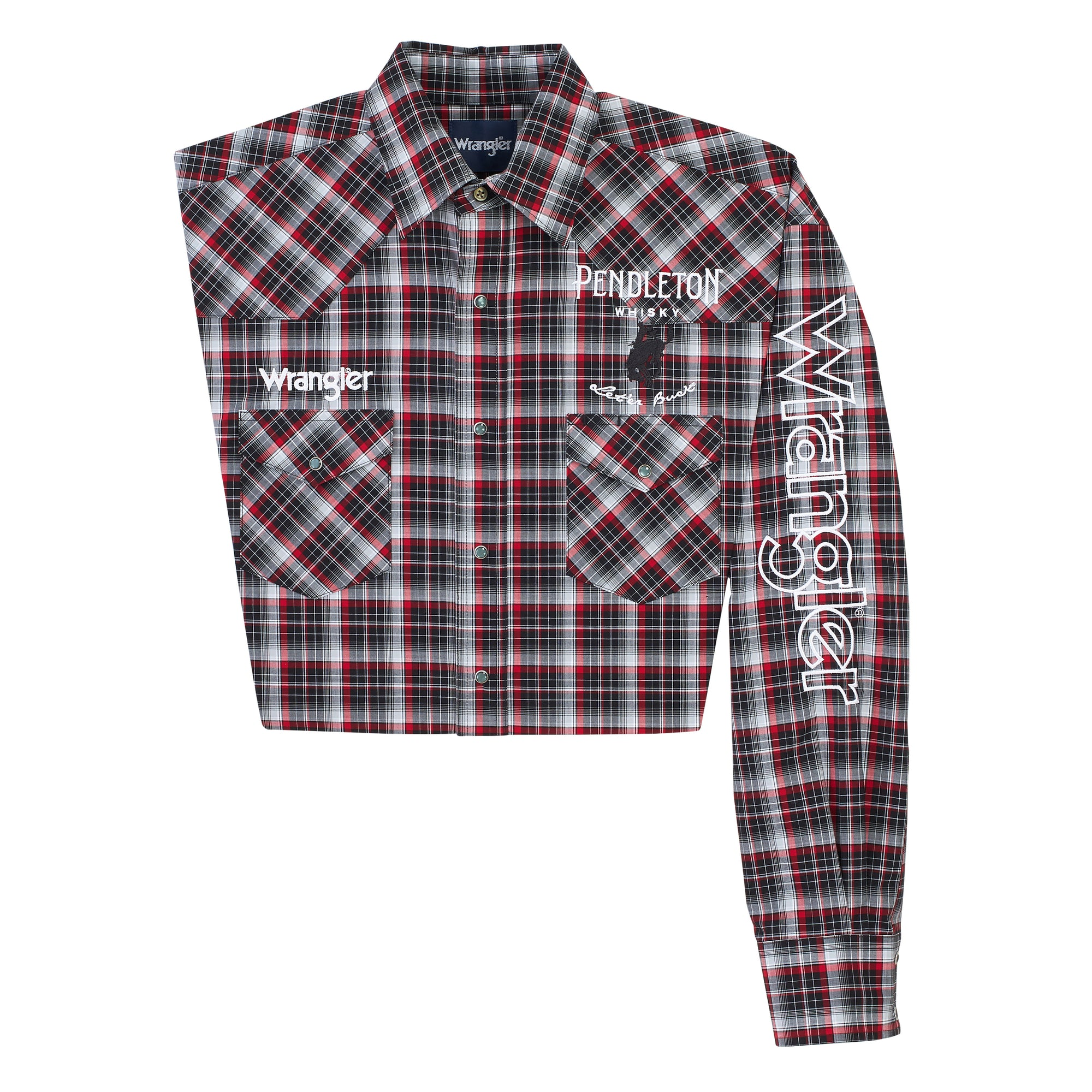 Wrangler Men's Logo Red/Black Plaid Snap Shirt