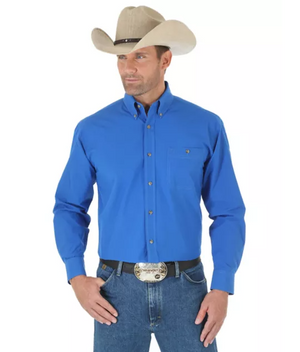 Wrangler Men's George Strait Long Sleeve Shirt Blue