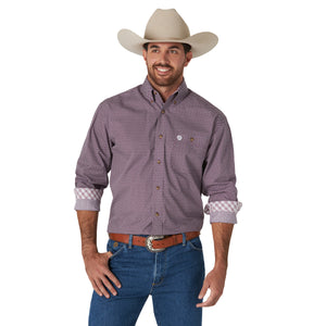 Wrangler Men's George Strait Long Sleeve Shirt Plum