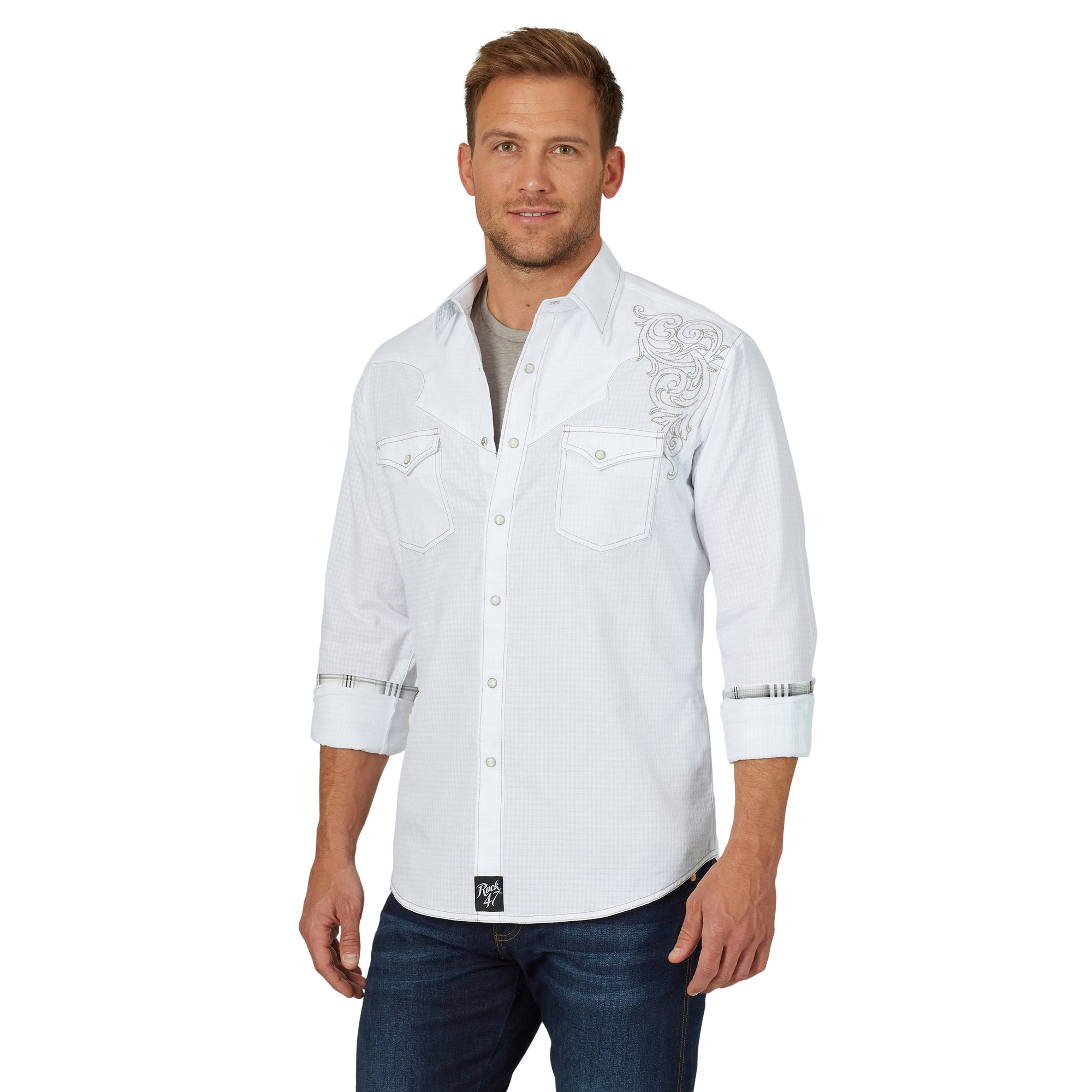 ROCK 47 by Wrangler Men's Snap White Shirt