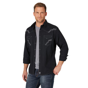 Rock 47 by Wrangler Long Sleeve Black Snap Shirt