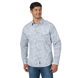 Wrangler Men's Retro Long Sleeve Blue/White Snap Shirt