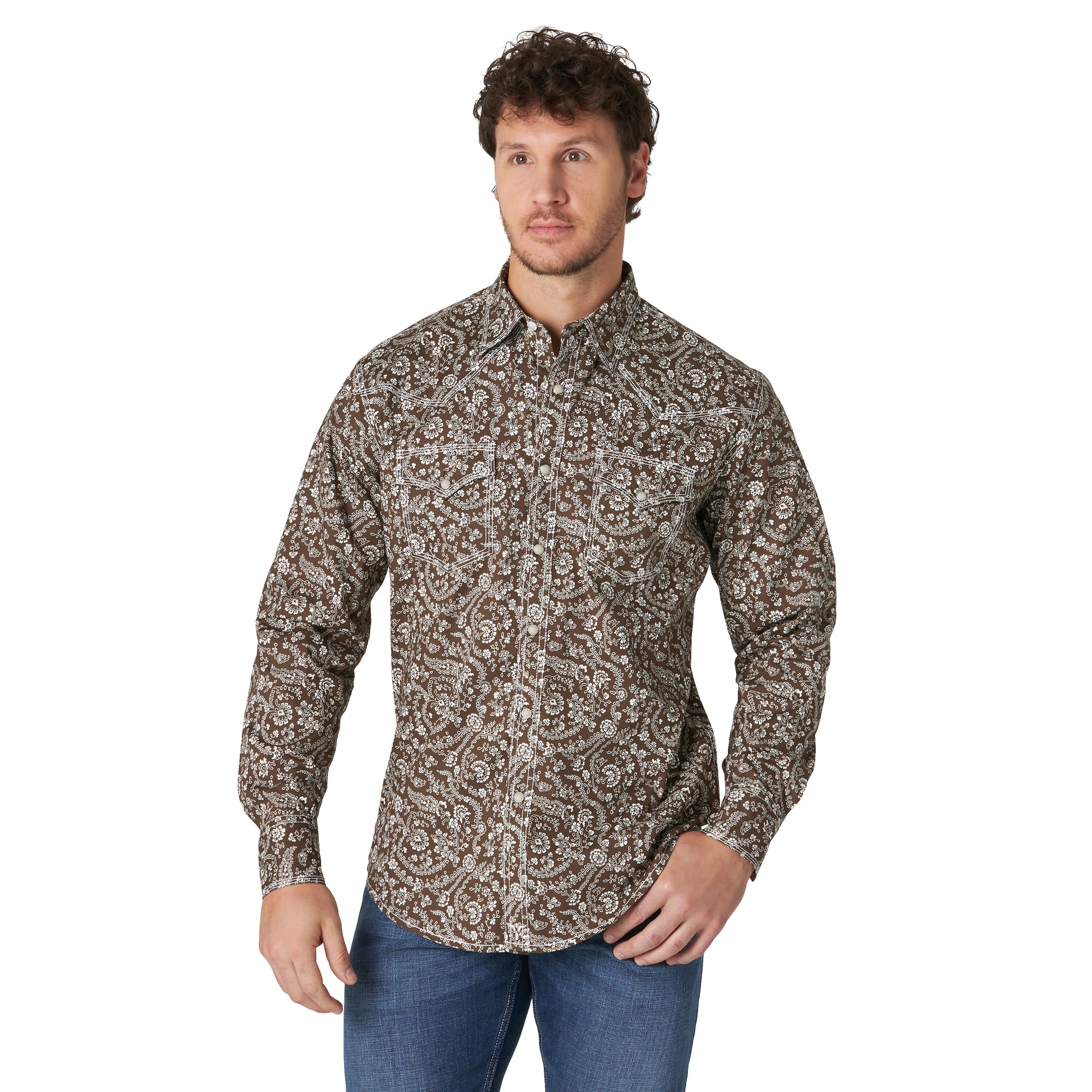Wrangler Men's 20X Competition Brown Snap Shirt