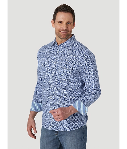 Wrangler Men's 20X Competition Blue/White Snap Shirt