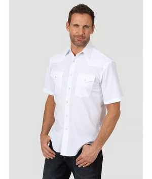 Wrangler Men's Sport Western Snap Shirt White