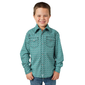 Wrangler BOY'S 20X Competition Western Snap Shirt Green/White