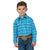 Wrangler Boy's Wrinkle Resist Long Sleeve Snap Shirt Blue