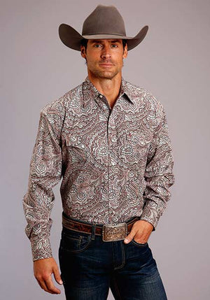 Stetson Men's Ornate Paisley Snap Shirt Red