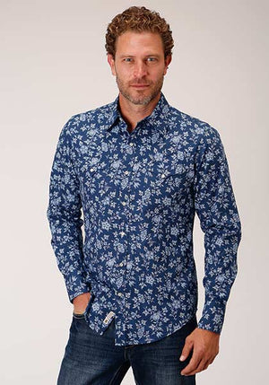 Stetson Men's Western Floral Snap Shirt Blue