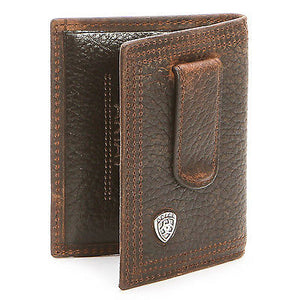 Ariat Performance Work Bi-Fold Money Clip Brown Leather Wallet