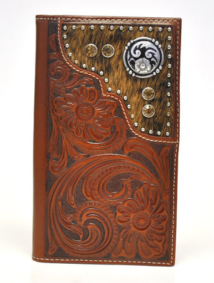 Nocona Floral Embossed Tan Leather Calf Hair w/ Amber Stones Wallet