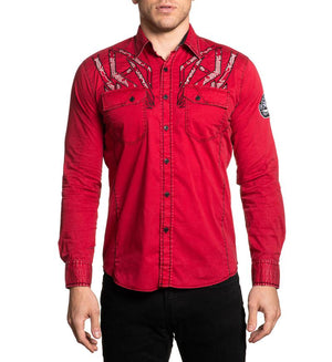 American Fighter Consequence Long Sleeve Shirt Red