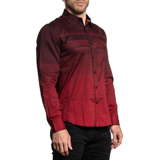 American Fighter Hostility Long Sleeve Shirt Red