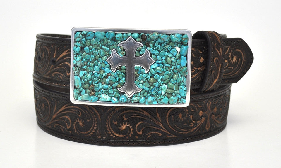 Nocona Ladies Western Turquoise Stone Cross Brown Leather Belt
