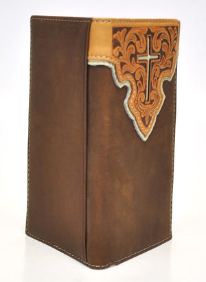 Nocona Tooled Leather Overlay w/Cross Inlay Brown Rodeo Wallet