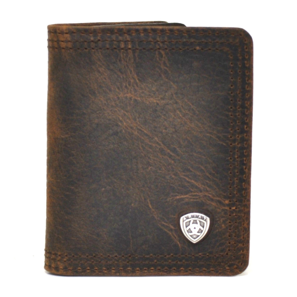 Ariat Performance Work Bi-fold Flipcase Dark Brown Leather Wallet