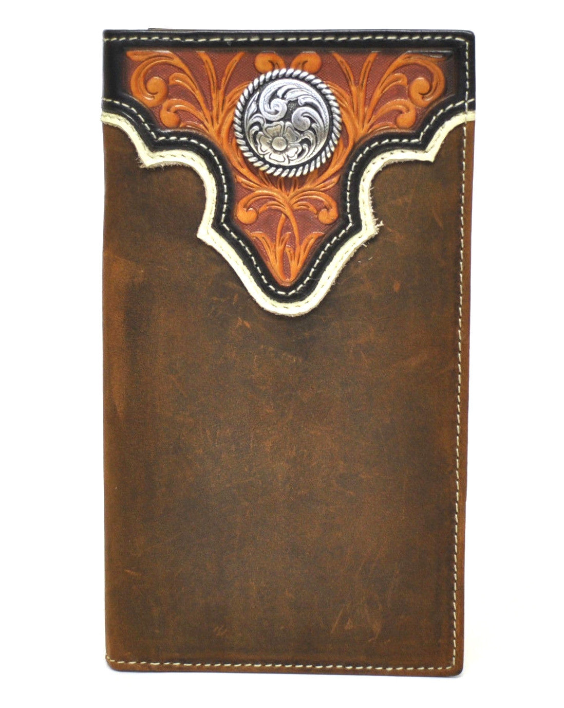 Ariat Tooled Overlay Concho Tan Rodeo Wallet Gavel