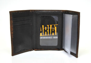 Ariat Trifold Logo Concho Performance Work Dark Brown Leather Wallet