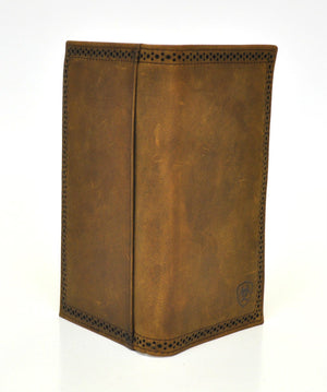 Ariat Perforated Edge Shield Med. Brown Rodeo Wallet