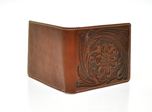 Nocona Tooled Leather Tan Bifold Wallet